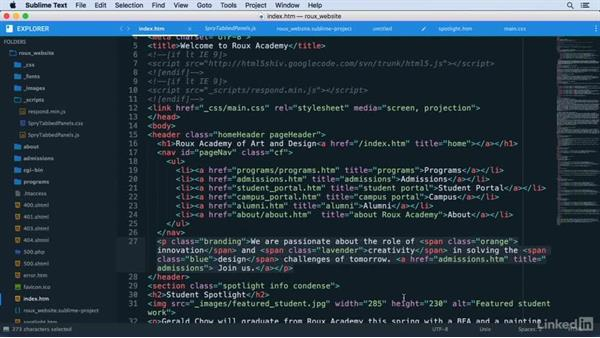 Expanding selections of code: Learn Sublime Text 3: The Basics