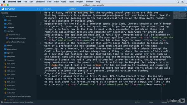 Using multiple selections to edit large amounts of text: Learn Sublime Text 3: The Basics