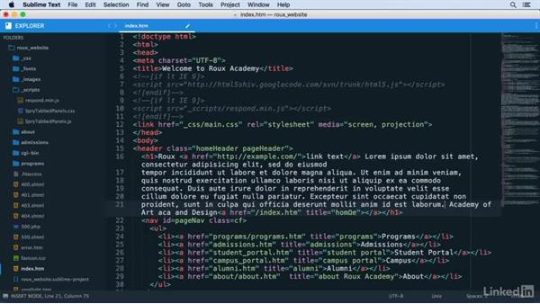 Using snippets in code: Learn Sublime Text 3: The Basics