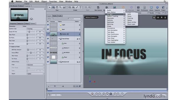 Create interest with the Focus behavior: Motion 4 Essential Training