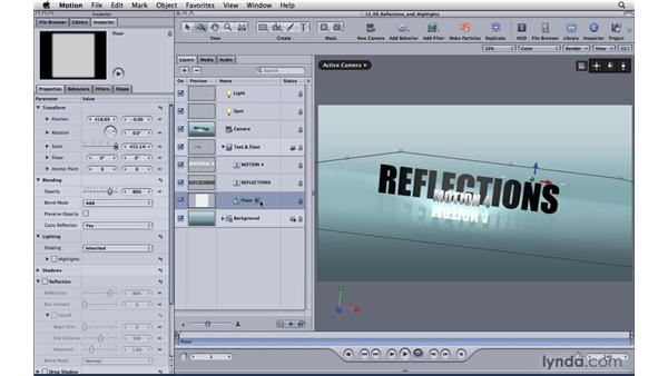 Using reflections and highlights: Motion 4 Essential Training