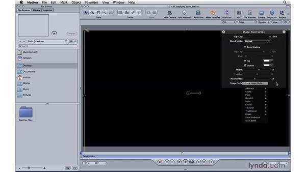 Applying paint presets: Motion 4 Essential Training