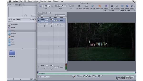 Adding and adjusting audio: Motion 4 Essential Training