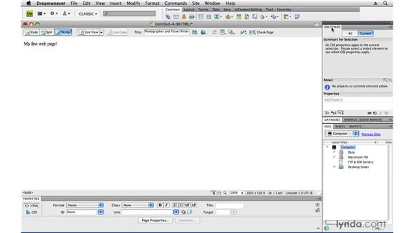 Reviewing the Dreamweaver workspace: Creating a First Web Site with Dreamweaver CS4
