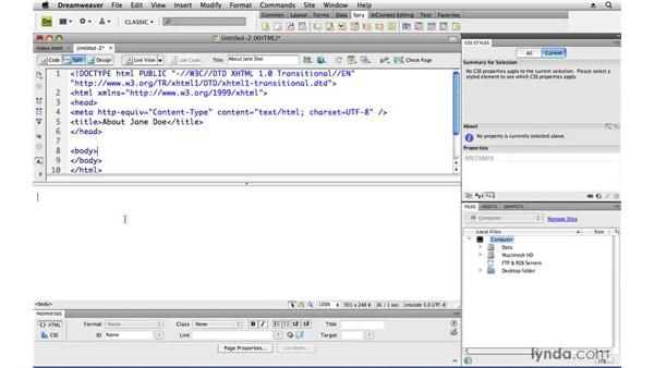 Creating web pages: Creating a First Web Site with Dreamweaver CS4