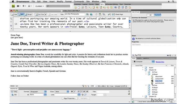 Adding text content: Creating a First Web Site with Dreamweaver CS4