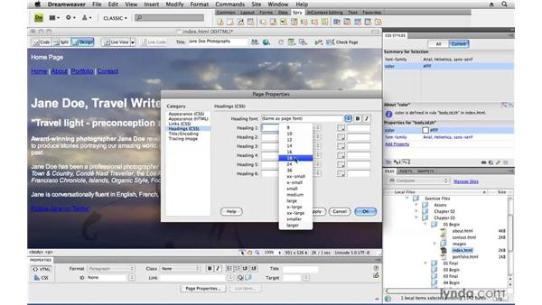 Applying style to content: Creating a First Web Site with Dreamweaver CS4