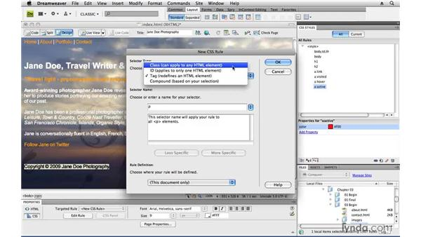 Customizing specific page content: Creating a First Web Site with Dreamweaver CS4