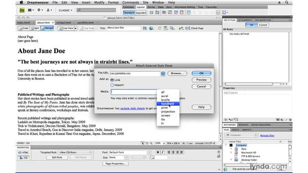 Creating a Cascading Style Sheet and applying it to multiple pages: Creating a First Web Site with Dreamweaver CS4