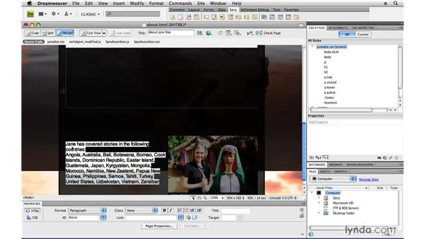 Improving data presentation: Creating a First Web Site with Dreamweaver CS4