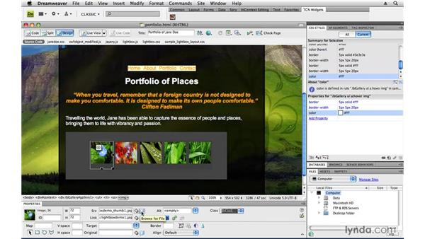 Adding a photo gallery: Creating a First Web Site with Dreamweaver CS4
