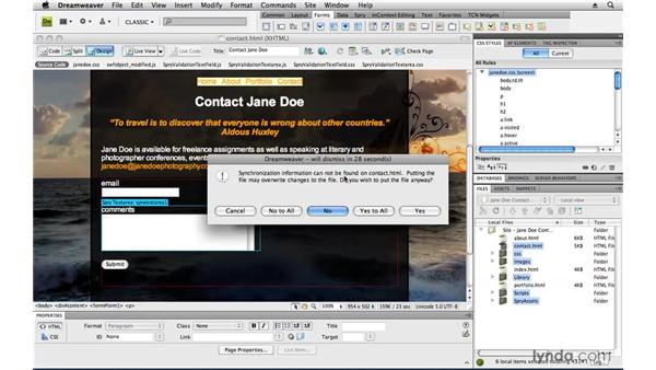 Sending data to an email address: Creating a First Web Site with Dreamweaver CS4