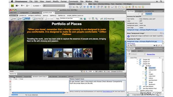 Checking for browser compatibility: Creating a First Web Site with Dreamweaver CS4