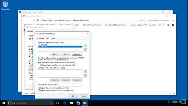 DNS client configuration: Windows Server 2016: DNS