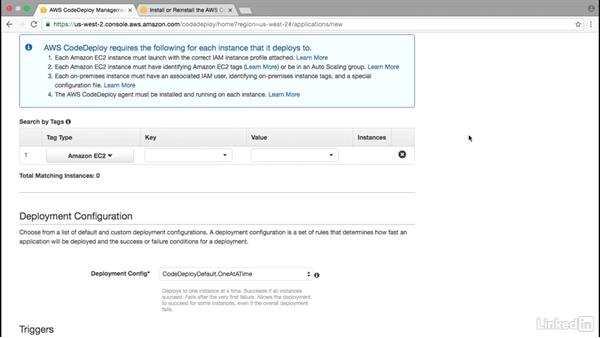 CodeDeploy: App creation: Amazon Web Services: Deploying and Provisioning