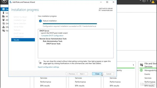 Installing the DHCP server role: Windows Server 2016: DHCP