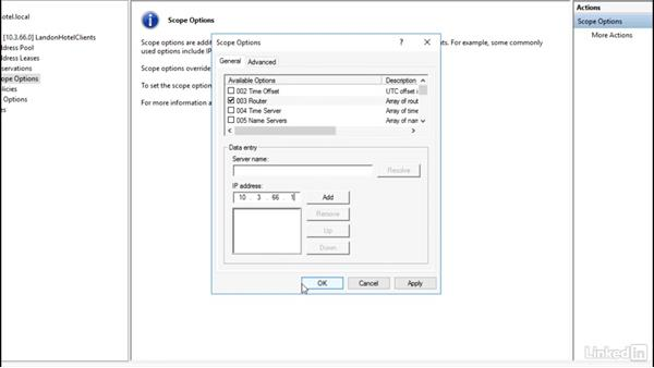 Configuring DHCP options: Windows Server 2016: DHCP