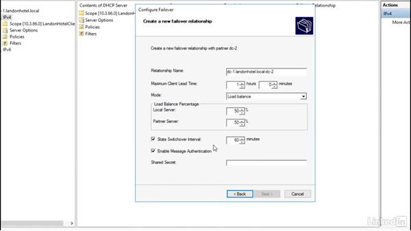 Configuring DHCP failover: Windows Server 2016: DHCP