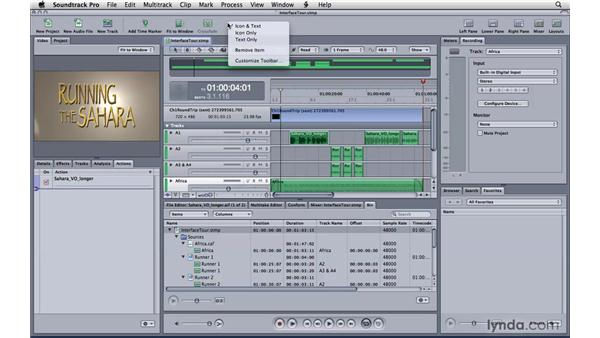 Touring the workspace: Soundtrack Pro 3 Essential Training
