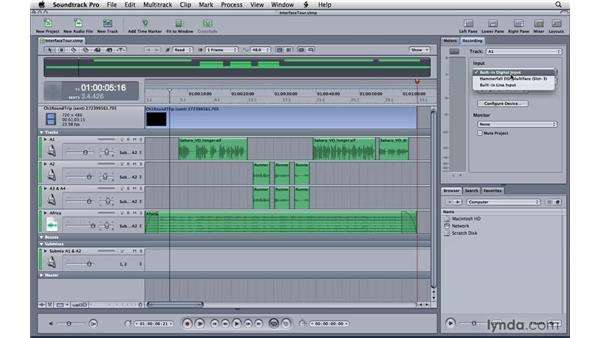 Touring the right pane: Soundtrack Pro 3 Essential Training