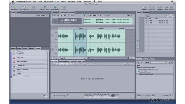 Working with actions: Soundtrack Pro 3 Essential Training