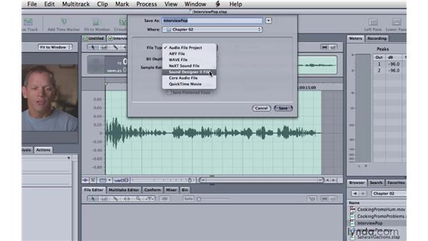 Saving an audio file project: Soundtrack Pro 3 Essential Training