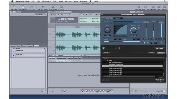 Choosing processing effects: Soundtrack Pro 3 Essential Training