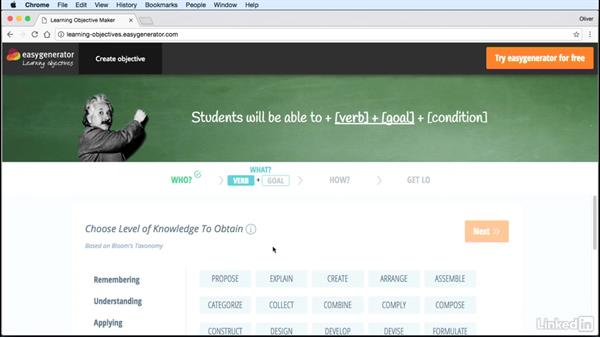 Establish learning objectives: Assessing Learning in Moodle