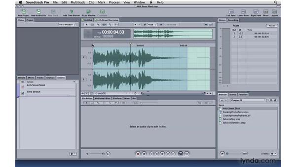 Changing speed and reversing audio: Soundtrack Pro 3 Essential Training
