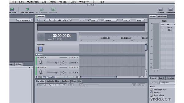 Exploring the multitrack workspace: Soundtrack Pro 3 Essential Training