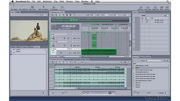 Adding assets and working in the Timeline: Soundtrack Pro 3 Essential Training