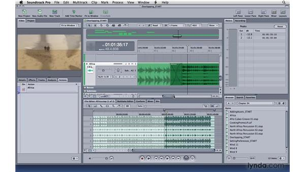 Overlapping, truncating, and cross-fading clips: Soundtrack Pro 3 Essential Training
