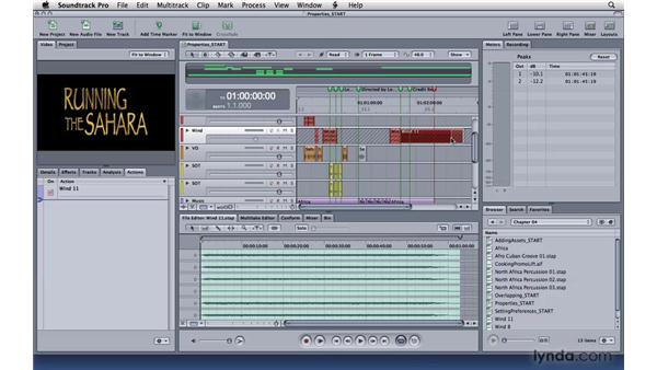 Editing clip and track properties: Soundtrack Pro 3 Essential Training