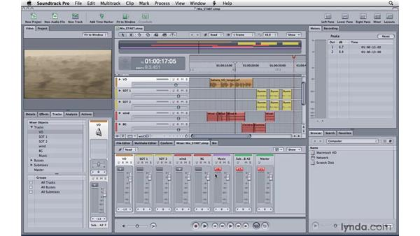 Preparing for the final mix: Soundtrack Pro 3 Essential Training