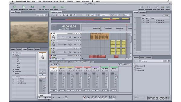 Working with tracks, busses, and submixes: Soundtrack Pro 3 Essential Training