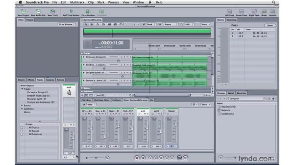 Automated mixing in surround sound: Soundtrack Pro 3 Essential Training