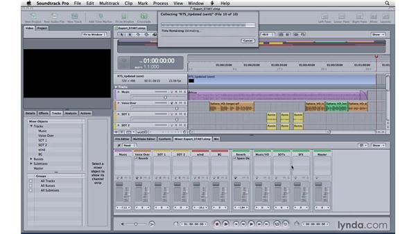 Exporting a master mix: Soundtrack Pro 3 Essential Training