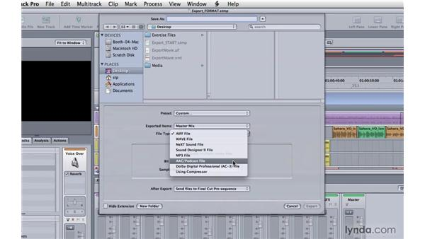 Choosing export file formats: Soundtrack Pro 3 Essential Training