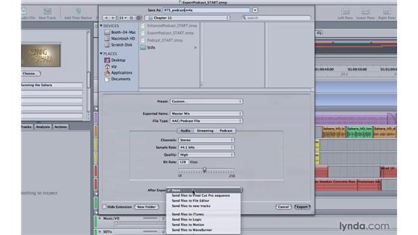 Exporting a podcast: Soundtrack Pro 3 Essential Training