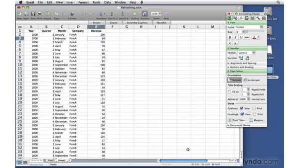 Updating and refreshing data sources: Excel 2008 for Mac: Pivot Tables for Data Analysis