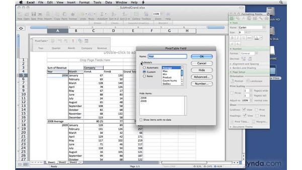 Adding and removing subtotals and grand totals: Excel 2008 for Mac: Pivot Tables for Data Analysis