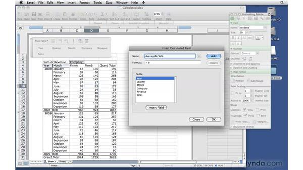 Creating a calculated field: Excel 2008 for Mac: Pivot Tables for Data Analysis