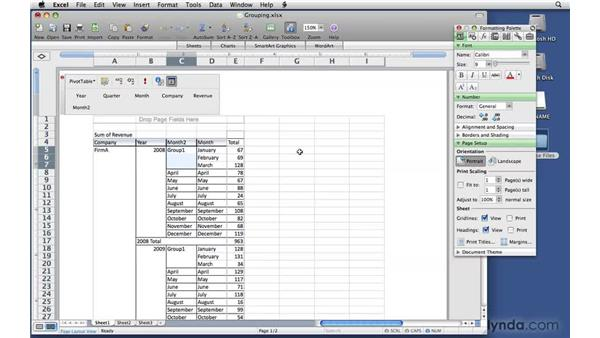 Grouping fields: Excel 2008 for Mac: Pivot Tables for Data Analysis
