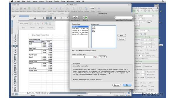 Creating a custom sort order: Excel 2008 for Mac: Pivot Tables for Data Analysis
