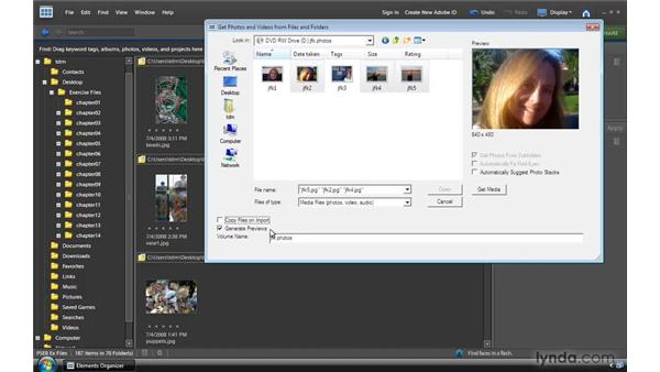 Getting photos from a CD/DVD or an external drive: Photoshop Elements 8 for Windows Essential Training