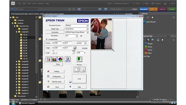 Getting photos from a scanner: Photoshop Elements 8 for Windows Essential Training