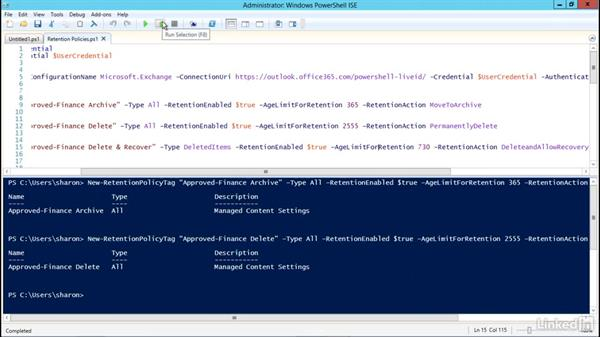 Create and apply retention policies using PowerShell: Office 365: Configure Exchange Online and Skype for Business Online for End Users