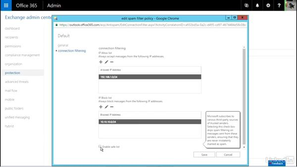 Configure lists (connection filtering): Office 365: Plan for Exchange Online and Skype for Business Online