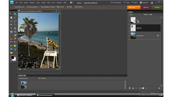 Working in the Layers panel: Photoshop Elements 8 for Windows Essential Training