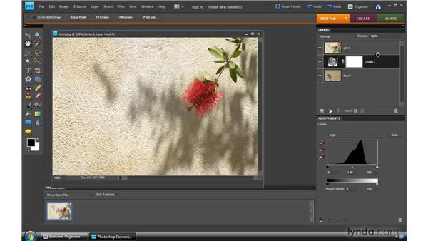 Combining images with layer masks: Photoshop Elements 8 for Windows Essential Training